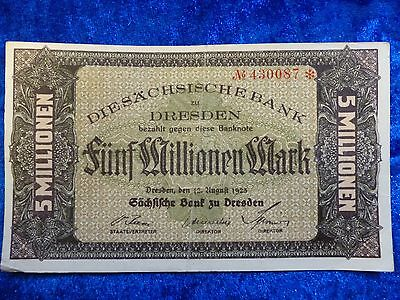 Germany Dresden 5 Million Mark 1923 Hyperinflation Banknote good w/ centre fold