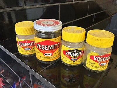 Set Of 4 Vegemite Jars Collectable Vintage Jar With Lid