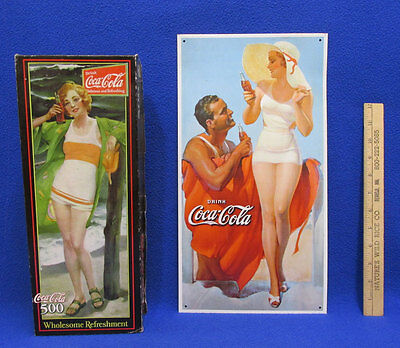 Coca Cola Girl Metal Sign & Puzzle 500 Pieces Vertical Sign & Puzzle Lot of 2