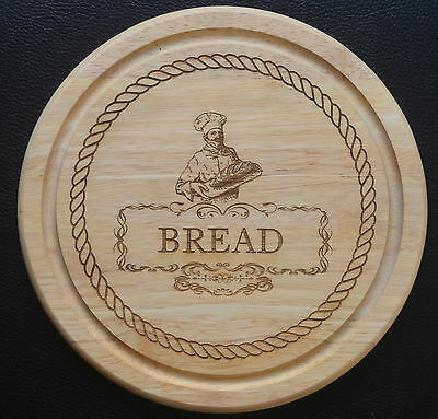 Laser Etched Engraved Chopping Cutting Board, Round, Baker Image and Rope Border