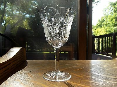Wine Goblet Glass Clear Lead Crystal Flared Hobstar Lace