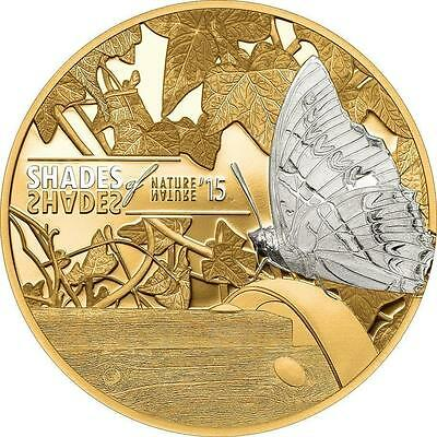 Cook Islands 2015 $5 Shades of Nature - Butterfly Proof Silver Coin Gold Gilded