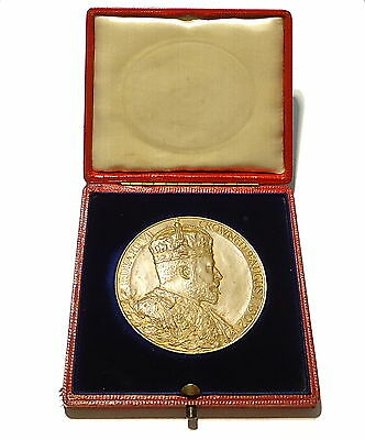 1902 King Edward VII Official Bronze Coronation Medal 55mm + Case Royal Mint