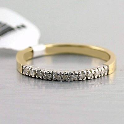 Natural Diamond Ring 10k Solid Yellow White Gold Semi-eternity Band 0.11 cwt