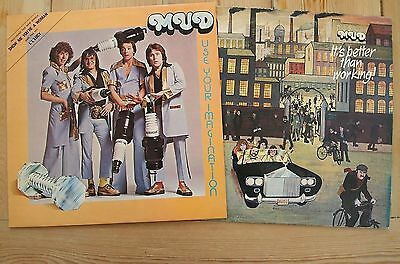 MUD - USE YOUR IMAGINATION + IT'S BETTER THAN WORKING LP VINYL 2 UK Glam Albums