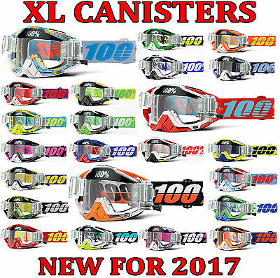 2017 100% PERCENT RACECRAFT MOTOCROSS MX GOGGLES with XL 36mm ROLL OFF CANISTERS