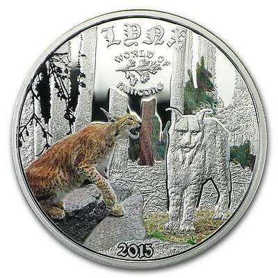 Cook Islands 2015 $2 World of Hunting Lynx 0.5 Oz Proof Silver Coin