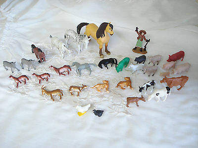 Big FARM & COUNTRY Vintage Lot 31 Plastic Toy Animals Pig Family Annie Oakley