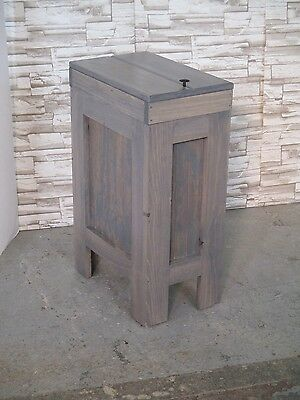 WOOD WOODEN Kitchen Trash Bin Garbage Can  Gray STAIN 13 gallon Rustic