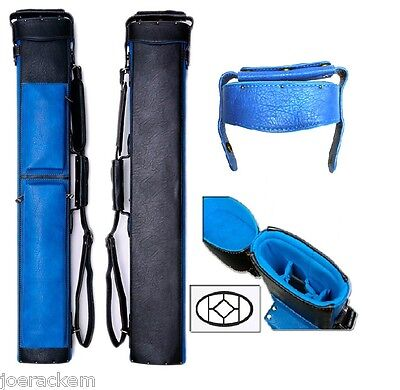 Delta 2x5 BLUE Transformer Case - Memory Foam - Leather Cue Case
