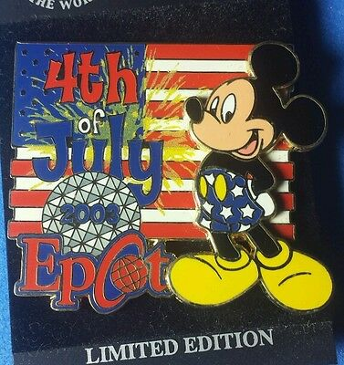 Disney PIn WDW July 4th Mickey Mouse LE OC Epcot