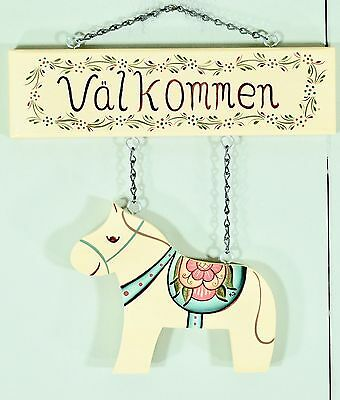 """Valkommen"" (Welcome) Sign with Dala Horse - Hand Painted Wood Swedish Folk Art"