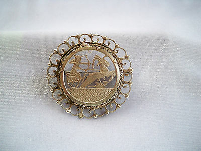 Antique Egyptian Revival Pharaoah on Chariot Sterling Silver Brooch Pendant