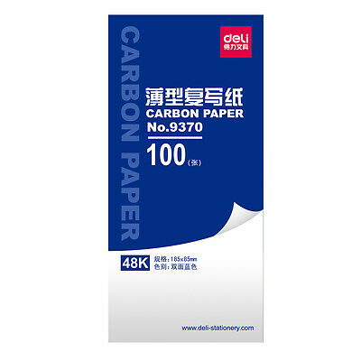 100 Sheets 48K Deli Carbon Paper Office Duplicate Receipt Handcopy Tracing Paper