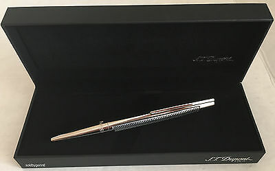 S.T. Dupont Defi Ball Point Pen,  Metal Onde &  Chrome 405722 New In Box