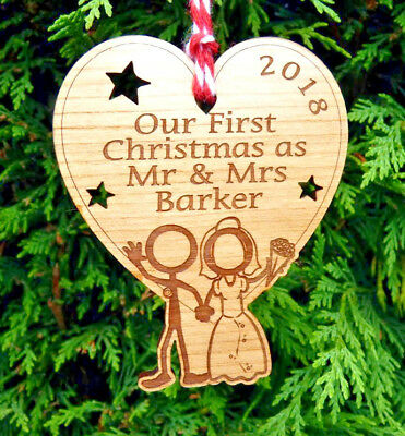 Our First Christmas as Mr & Mrs Personalised 1st Xmas Decoration Bauble and Gift