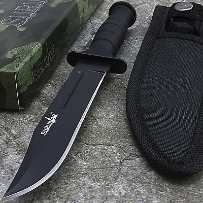 "7.5"" SURVIVOR HUNTING FIXED BLADE KNIFE w/ SHEATH Survival Bowie Combat"