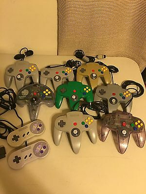 Lot of 10 N64 Controllers + SNES Nintendo controllers for Parts or repair AS IS