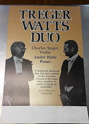 CHARLES TREGER Violin ANDRE WATTS Piano =SIGNED 1980s CLASSICAL CONCERT POSTER=