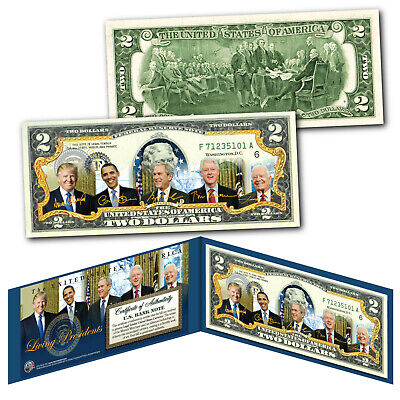 LIVING PRESIDENTS w/ DONALD TRUMP Official Genuine Legal Tender U.S. $2 Bill