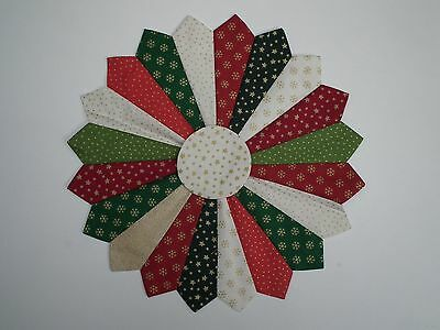 Quilt Dresden plate patchwork applique block panel 100% cotton Christmas 12""