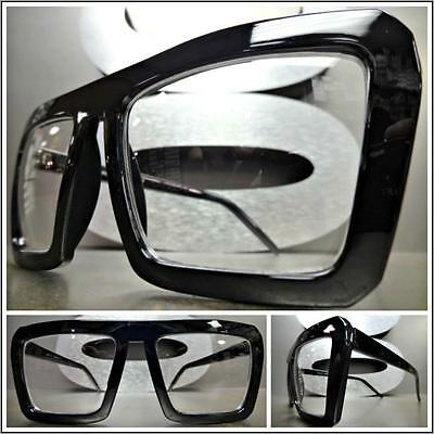 CLASSIC VINTAGE RETRO AVIATOR Style Clear Lens EYE GLASSES Black Fashion Frame