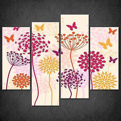 Foliage Flowers Butterflies Cascade Canvas Wall Art Print Picture Ready To Hang