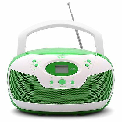 Tyler Portable Neon Green Stereo CD Player with AM/FM Radio and Aux & Headphone
