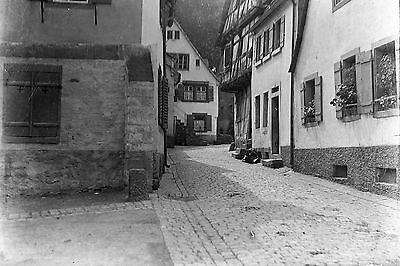EUROPEAN STREET Antique Photographic Glass Plate Negative 1910s (Germany?)