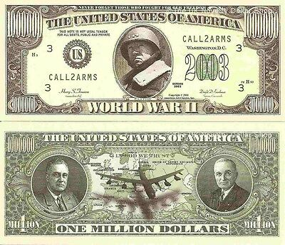 Second World War WWII Patton Million Dollar Bills x 4 Roosevelt Truman 1939 1945