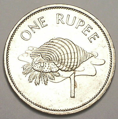 1995 Seychelles One 1 Rupee Arms Triton Conch Shell Coin XF