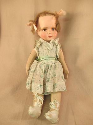 """Antique Painted Bisque Celluloid Doll Jointed Cloth Body 11"""""""