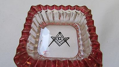 Vintage Freemasons Glass Ashtray with Red on the Side
