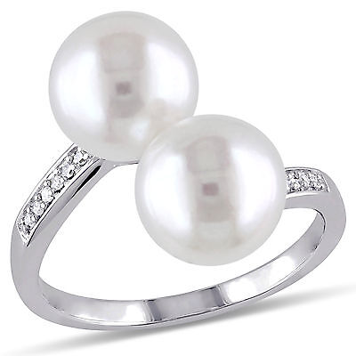 Amour 10k White Gold Freshwater White Pearl Diamond Accent Ring 8-8.5 mm