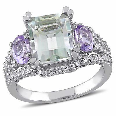 Amour Sterling Silver Amethyst and Rose de France Ring