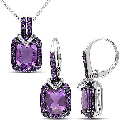 Sterling Silver Amethyst & 1/8 Ct TDW Diamond Leverback Earrings & Necklace Set