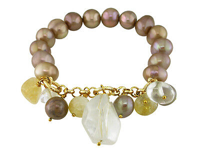 Amour Goldtone Brown FW Pearl and Multi-colored Quartz Stretch Bracelet 9-10 mm