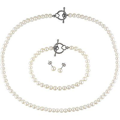 Amour Cultured Freshwater Pearl and Silver Clasp Jewelry Set 5-6mm