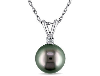 Amour 14k Gold Cultured Tahitian Pearl and Diamond Accent Necklace 8-9 mm