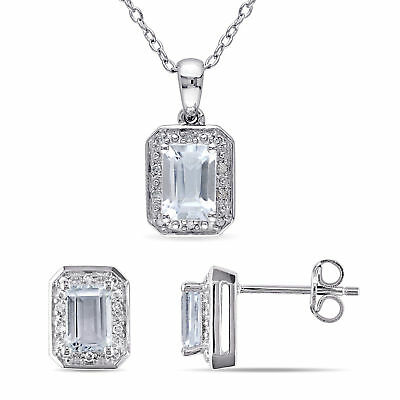 Sterling Silver Aquamarine & 1/8 Ct TDW Diamond Halo Stud Earrings Necklace Set