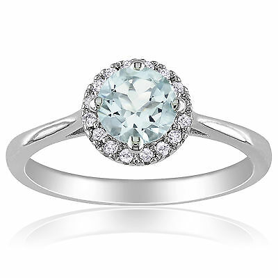Amour Sterling Silver Aquamarine and 1/10 Ct Diamond Ring H-I I2-I3