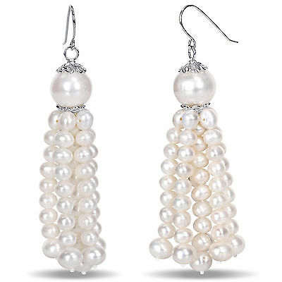 Amour Sterling Silver White Cultured Freshwater Pearl Tassel Earrings 4.5-11 mm