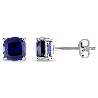 Amour Sterling Silver Cushion Cut Created Blue Sapphire Stud Earrings