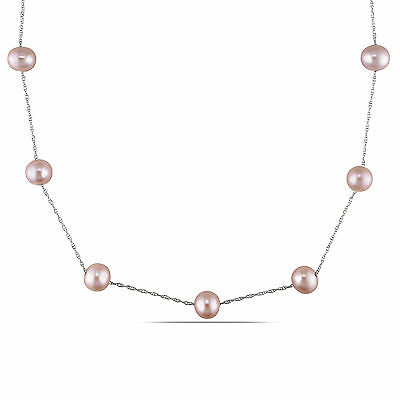 Amour 10k Yellow Gold White Cultured Freshwater Pearl Tin Cup Necklace 7-8 mm