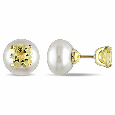 Amour Yellow Silver Freshwater White Pearl and Lemon Quartz Earrings