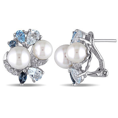 Amour Sterling Silver Freshwater Pearl and Multi-gemstone Earrings