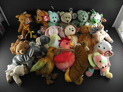 20  Ty Beanie Babies Collection  Hippie Haunt Teddy Shamrock Germania Ariel Etc