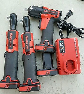 Snap On 3/8 impact driver CT761, and 2- 3/8 ratchet -CTR761B + 4-14.4V Batteries