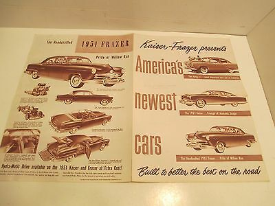 1951 Kaiser Sales Brochure Excellent Condition