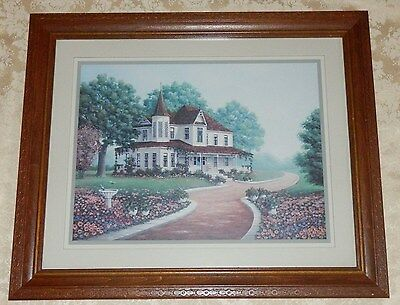 HOMCO Home Interior WHITE VICTORIAN HOUSE PICTURE Roses